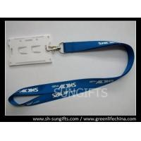 Buy cheap Blue custom printing lanyard with white hard ID card holder from wholesalers