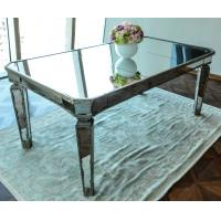 Buy cheap Glass Mirrored Dining Table Luxury Design Strong Wood Legs 76cm Height from wholesalers