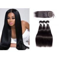 Buy cheap Straight Malaysian Hair Weave Bundles With Closure No Mixed Animal Hair from wholesalers