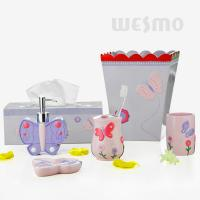 Buy cheap Butterfly Shaped Dispenser And Dish Polyresin Bathroom Set Design For Children (WBP0808A) from wholesalers