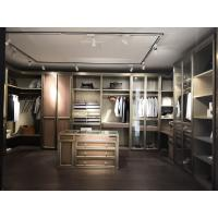 Buy cheap Villa house wardrobe closet in light luxury design Built-in cabinets for cloth and jewelry display wood working counters from wholesalers