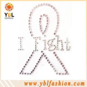 China Garment accessory breast cancer hotfix rhinestone transfer design creation on sale
