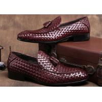 Buy cheap Pointed Moc Toe Mens Woven Leather Loafers , Burgundy Mens Dress Shoes With Tassels from wholesalers