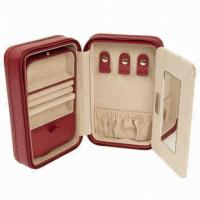 Buy cheap Leather Jewelry Boxes, cardboard paper case wrapped with leather and zipper product