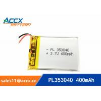 Buy cheap 353040pl rechargeable 353040 3.7v 400mah lithium polymer battery for MP3 player, MP4 player from wholesalers