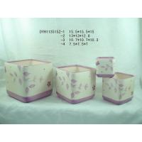 Hand Painted Square Ceramic Pots For Plants , Colorful Floral Design