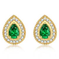 Buy cheap Real Diamond Gemstone Jewelry Pear Shaped Emerald Stud Earrings from wholesalers