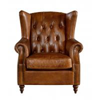 Vintage Brown High Back Leather Armchair Tall Back
