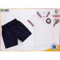 Buy cheap Custom school uniform polo t shirts with stripe collar and cuff  for boys and girls from wholesalers
