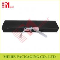 Buy cheap Art Card hair extension packaging black color glossy printing hair box with ribbon closure from wholesalers