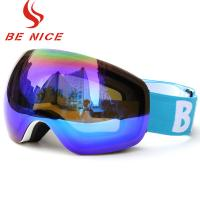 Colorful Mens Snowboarding Goggles Reflective Lens White Frame For Snow Sport