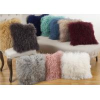 Buy cheap Genuine Lamb Mongolian Fur Pillow 18 X 18 With Customized Color / Shape from wholesalers