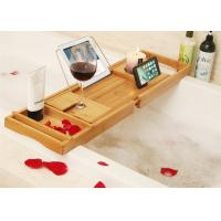 Buy cheap Bamboo Bathtub Caddy Tray Bathroom Organizer with Expandable Sides Holder for Book Glass Towel from wholesalers
