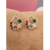 Buy cheap 2015 Fashion Korean Multicolor Imitation Diamond Golden Stud Earrings for Women Girls Drop Jewelry Hot Sale from wholesalers