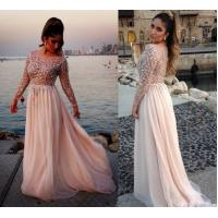 Buy cheap Elie Saab Scoop A Line Womens Party Dresses , Ivory Chiffon Long Sleeve Crystal Gown from wholesalers