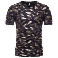 Buy cheap Plus Size Mens Gold Foil T Shirt / Sublimation Oversized Band T Shirt Soft from wholesalers