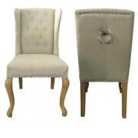 Buy cheap Natural oak wood frame with metal ring at back  linen fabric wooden dining chair from wholesalers