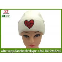 Buy cheap Chinese manufactuer  red heart embroidered knitting stripe hat  cap  beanie 79g 20*22cm 100%Acrylic keep warm from wholesalers