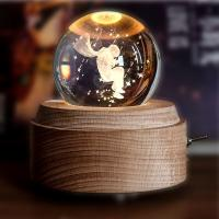 Buy cheap 2018 new Rotating Wooden  crystal 3D led night light Music Box with Unique 3D inner engraving Tech from wholesalers