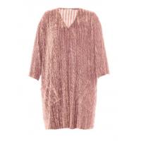 Buy cheap Pink Color Plus Size Autumn Dresses V Neck Feather Medium Sweater Dresses from wholesalers