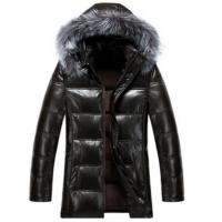 Buy cheap Cool Winters Hooded Anorak Jacket With Fur Hood , Mens Padded Leather Jacket from wholesalers