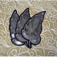 Buy cheap custom clothing LEAF design sequin embroidery patch embroidery badge from wholesalers