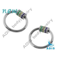 Buy cheap Three Stripes Surgical Stainless Steel Ball Closure Ring / Nose , Ear Body Jewelry For Guy from wholesalers