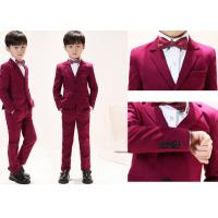 Buy cheap Anti Shrink Boys Red Tuxedo / Breathable Baby Boy Ring Bearer Outfit from wholesalers