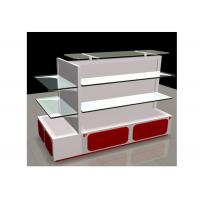 Buy cheap White Gondola Shop Shelving With 2mm Thickness Glass Shelf , Recyclable Liquor Store Shelving from wholesalers
