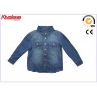 Buy cheap Comfortable Fabric Denim Jean Long Sleeve Shirt Child Wear In Blue Color from wholesalers
