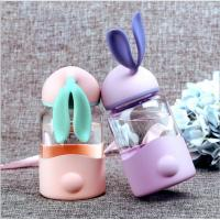 Buy cheap 340ml Kids Rabbit Shaped Gift Unbreakable Glass Water Bottle With Silicone Sleeve product