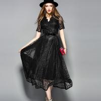 Buy cheap Black wholesale  Belted Lace Dress for Women Clothing with zipper from wholesalers