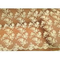 Gold Retro Scalloped Corded Lace Fabric , Polyester Embroidered Floral Tulle Fabric