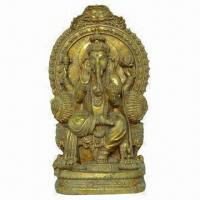 Buy cheap Polyresin Sitting Ganesh Statue, Gold Color, with AnFique finish from wholesalers