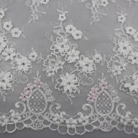 Buy cheap 3D Flower Beaded Lace Fabric , Embroidery Lace Tulle Fabric For Bridal Dresses product