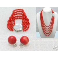 Buy cheap Natural Red Coral Necklace Bracelet Earring from wholesalers