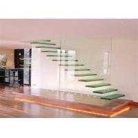Buy cheap Modern wood and iron stairs railing floating stairs decorative glass tread ladder from wholesalers