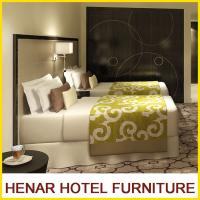 Buy cheap Commercial Hotel Furniture Dark Walnut Frame Faux Leather Hotel Bedroom Furniture Set from wholesalers