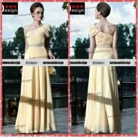 Buy cheap Gentle One Shoulder Yellow Chiffon Straight Pleat Long Evening Gowns from wholesalers