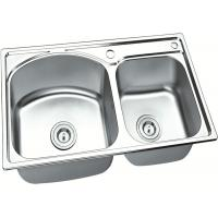 Buy cheap Brushed Stainless Steel Sink Bowl / Double Undermount Sink  750 X 400 MM X 150 MM Deep from wholesalers