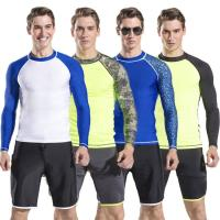Buy cheap mens long sleeve rash guard swim suit diving suit with shorts pants wholesale different types for choose from wholesalers