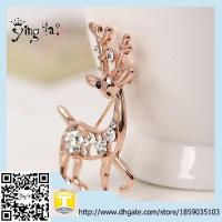 Buy cheap Newest Style new uniuqe fashion accessories large unisex alloy rhinestone golden giraffe brooch from wholesalers