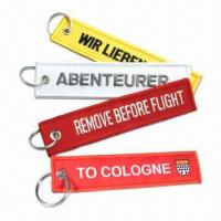 """Buy cheap Embroidered keychains/key fobs, with """"remove before flight"""" logo product"""