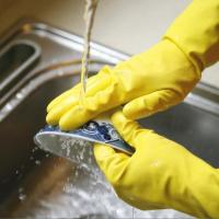 Buy cheap Excellent Grip Rubber Dishwashing Gloves , Flock Lined  Rubber Gloves Waterproof from wholesalers