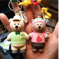 Buy cheap Custom High Quality 3d Brown Bear Doll Keychain Key Holder With Silicone Wristband, Different Design Available product