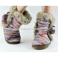 Buy cheap Beautiful knitted with faux fur women indoor boot with soft sole from wholesalers