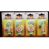 Buy cheap 100% Handmade Birthday Number Candle with Rainbow color Edge and Gliter inside product