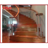 China Wrought Iron Staircase VK87S  Wrought Iron Handrail Tread Beech ,Railing tempered glass, Handrail b eech Stringer,carbon on sale