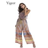 Buy cheap Sleeveless Bohemian Style Printing Loose Women's Jumpsuit from wholesalers