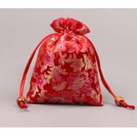 Buy cheap Red Chinese style satin drawstring bag, candy bag from wholesalers